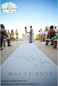 The perfect font on your wedding aisle runner can set the tone for your ceremony. #aislerunners, #weddingaislerunners
