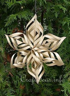 """Craftideas.info""  Christmas Crafts - Paper Crafts - Lacy Gold Paper Star Tree Ornament"