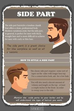 The side part haircut has always been popular among men of all ages. See how to get, style, and find the right side-part cut to add precision to your look. Mens Hairstyles Side Part, Mens Hairstyles Round Face, Side Part Haircut, Mens Medium Length Hairstyles, Face Shape Hairstyles, Haircuts For Men, Wavy Hairstyles, Wedding Hairstyles, Male Face Shapes