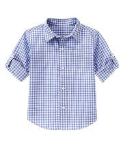 Janie and Jack - Boy 0-12 yrs - Gingham Roll Cuff Shirt Periwinkle Blue Check