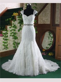 White Mermaid Cap Straps Beading Lace Wedding Dresses ARW0001