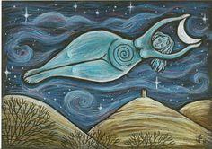 Moon Goddess Glastonbury Tor Art by Jan Fowler Goddess Symbols, Goddess Art, Moon Goddess, Sacred Feminine, Divine Feminine, Glastonbury Tor, Dancing Figures, Wiccan, Magick