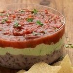 Three-Layer Mexican Dip (C3).  Use vegetables to dip with instead of chips!  Or make your own homemade potato chips :-)
