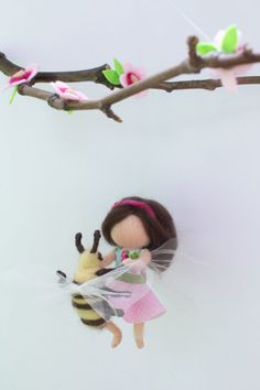 Needle felted, personalized fairy doll with a bee