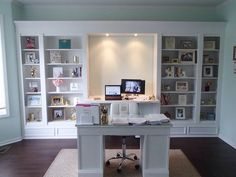 My DIY office built ins. We used 4 IKEA Hemnes bookcases - Easy Diy Furniture Office Furniture Design, Home Office Design, Home Office Decor, Home Decor, Office Ideas, Office Table, Office Setup, Study Office, Bedroom Office