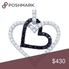10k White Gold / Diamond Pendant 1/2 Cttw 10k White Gold Womens Black Colored Diamond Double Heart Valentines Fine Pendant 1/2 Cttw  Product Specification Gold Purity & Color	10kt White Gold Diamond Carat	1/2 Ct.t.w. Diamond Clarity / Color	I2-I3 / Black Length	24 mm ( .94 inches ) Width	20 mm ( .79 inches ) Gram Weight	1.94 grams (approx.) Style	Hearts & Love Item Number	Larimaro -6019871Ns Jewelry