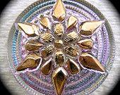 """Czech glass button - Golden Star Flower on Iridescent Violet Pink and Aqua 7/8"""" x1"""