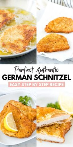 Schnitzel pan-fried to golden perfection with a crispy breading just like at your favorite German restaurant! This easy step by step recipe shows you how easy it is to make the best Pork or Veal Schnitzel at home. Veal Schnitzel, German Schnitzel, Veal Cutlet, Chicken Schnitzel, Wiener Schnitzel, Pork Cutlets, Pork Loin, Pork Recipes, Lunch Recipes
