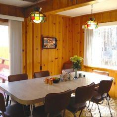 my new favorite website - Retro Renovations - we have this knotty pine paneling throughout our house - there's even a corner hutch made from it!