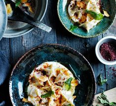 Australian Gourmet Traveller Turkish recipe for lamb manti with yoghurt, sumac and dried mint.
