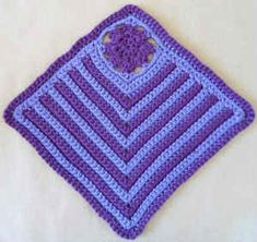 "Deep Purple Crochet Dishcloth ~ free pattern Use .. potato/onion bags with netting and  cut 1/2"" or more strips and crochet the strips in with the yarn. So that way youI have a built-in scrubber. Or  just crocheting half the netting on half of the dish clothes."