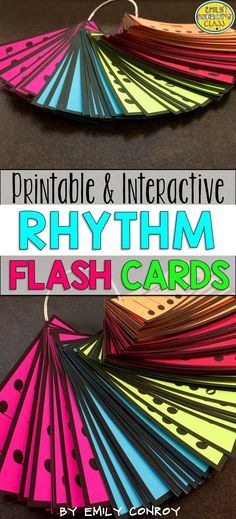 This product includes 150 printable and interactive rhythm flashcards for your elementary music students. The interactive cards can be displayed using a projector and allow students to touch or click each slide to see the cards fly onto the page. The printable cards can be printed onto colored card stock and organized using shower curtain rings or plastic bins!