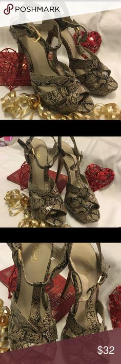 """City Streets Python Snakeskin Women's Heels 9m Smoking Hot!! Snakeskin print. Sky high heels ( 6"""" )  Pre-owned but only worn a few times. Great condition!  Thank you SO much for visiting my Posh Closet.  If you have questions just let me know.  Feel free to make an offer and/or bundle.  Happy Shopping!!! 💕💕💕  B1 1:30 City Streets Shoes"""