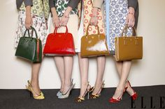 Prada Spring 2012 (Photo: Imaxtree) via Elle Tumblr! The green bag on the end is calling out to me.