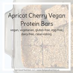 Vegan Protein Bars - Cherry and Apricot | Feel Good Nutrition. Ingredients: chickpeas, dried apricot, dried cherries, pure vanilla extract, oats, allowed liquid sweetener, allowed milk, salt, chia seeds (optional), cinnamon (optional)
