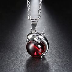 Rhodium Plated Red Agate Silver Dolphin Necklace