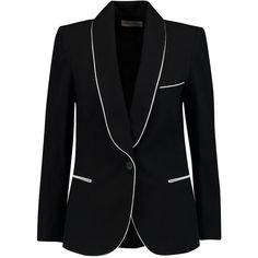Étoile Isabel Marant Lana cotton-twill blazer (810 BRL) ❤ liked on Polyvore featuring outerwear, jackets, blazers, black, blazer jacket, slim blazer jacket, slim blazer, tailored jacket and tailored blazer