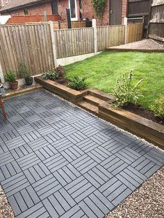 Ikea runnen decking tiles used to create a new garden