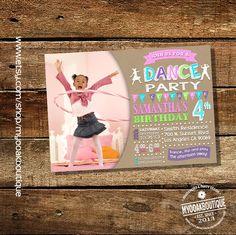 Dance birthday party invitation dancing party invite dance studio photo invite kraft digital printable invitation 14069 by myooakboutique on Etsy