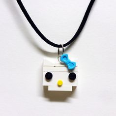 Brick Kitty with Blue Bow Necklace by FoldedFancy on Etsy Lego Jewelry, Bow Necklace, Lego Models, Blue Bow, Brick, Kitty, Bows, Crafts, Accessories