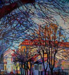 Cityscape / 110 x 100 x 2 cm by Maja Đokić Mihajlović