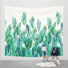 Hand painted watercolor palm leaves in deep green on white. <br/>  <br/>  watercolor, leaves, nature, pattern...