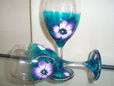 Hand painted wine glasses.decorated glasses decorated by Aligri, €35.00
