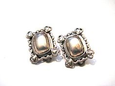 Vintage Square Silver Tone Puffy Heart Clip Earrings by ditbge, $6.25