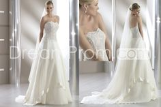 Attractive A-line Strapless Floor-Length Chapel Lace Trimmed Wedding Dresses