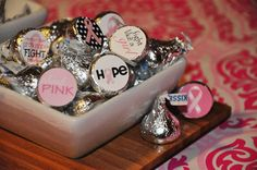 PRINTABLE CANDY STICKERS or tags Pink Ribbon Think Pink Breast Cancer Awareness Collection - Memorable Moments Studio. $10.00, via Etsy.