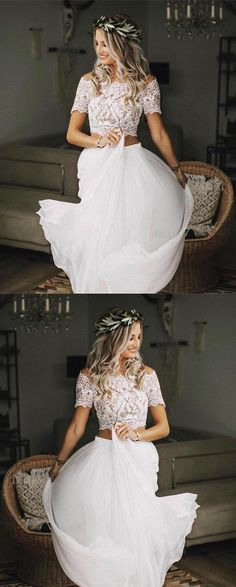 Fantastic Free Boho Chic Lace Crop Chiffon Wedding Dresses Two Piece Concepts Lovely Wedding Dresses ! The current wedding dresses 2019 consists of a dozen different dresses in t 2 Piece Wedding Dress, Wedding Dress Chiffon, Wedding Gowns, Tulle Wedding, Boho Chic Wedding Dress, Chiffon Dresses, Wedding Dress Separates, Elopement Wedding Dresses, Boho Wedding Shoes