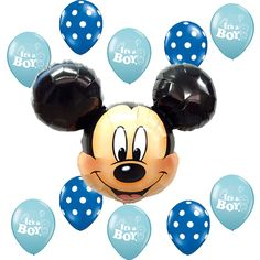 Baby Shower Supplies Mickey Mouse Blue Polka dots It's a Boy Foil Latex balloons #Disney #BabyShower