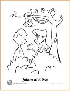 Adam and Eve (Garden of Eden)   Free Printable Coloring Page
