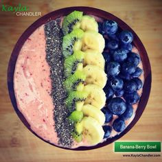 Easy Smoothie Bowl idea.. For the base, blend 2-3 frozen bananas with handful of frozen berries. Then, top it off with whatever you want! Enjoy!