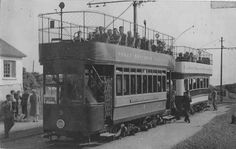 Trams at Howth Summit A black-and-white photo showing two trams at Howth Summit, one about to depart. Dublin Street, End Of The Line, Old Trains, Old Video, Ireland Travel, Buses, Old Photos, Irish, Around The Worlds