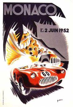 Grand Prix de Monaco par B. Minne (1952)....reépinglé par Maurie Daboux ❥•*`*•❥