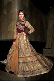 Net and Georgette Semi Stitched Long Length Anarkali Suit In Beige and Maroon Colour