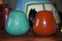 Salt and pepper shakers brown and turquoise by TheVintageBoomer