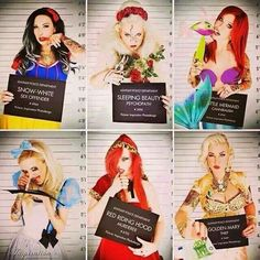 Perhaps not Disney-Gone-Wild like this, but I would like to do a Bride & Bridesmaids photo shoot with a mugshot theme.