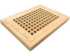 "Egg Crate Flush Mount Red Oak Grates. Wood flush mount vents are designed to lay flat with the surface of 3/4"" wood flooring. STRONGER construction and BETTER air flow than the louvred design. It is recommended that this unit be installed during the installation of your hardwood floor. Egg-crate vents do NOT have an operable damper, they are free flow to allow for MAXIMUM AIR FLOW."