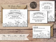 ♥ ♥ ♥ FAV Printable Wedding Invitation Suite rustic wedding invite floral wedding calligraphy invite, DIY invitation set whimsical Printable Wisdom