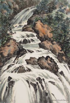 Chinese brush painting of mountain rapids Chinese Landscape Painting, Japanese Painting, Oil Painting Abstract, Landscape Paintings, Chinese Painting, Landscapes, Scenery Tattoo, Water Aesthetic, Aesthetic Art