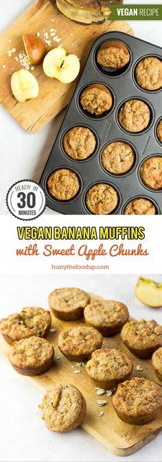 Irresistible Vegan Banana Muffins with Sweet Apple Chunks #vegan #vegetarian #banana | hurrythefoodup.com