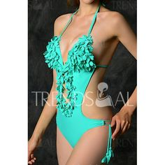 Sexy Halter Stereo Flower Embellished Solid Color One-Piece Women's Swimwear