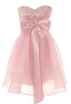 Be My Baby Dress: Features a stunning sweetheart neckline with sparkling rhinestones covering the bodice, oversized satin bow hanging at front center, ultra-romantic corset-style back design, and an air-whipped chiffon skirt to finish.