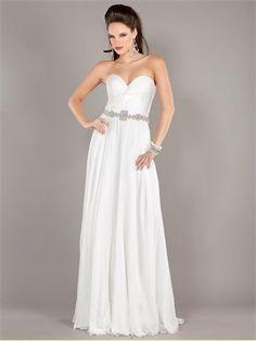 Strapless Sweetheart Beaded Waist Belt White Prom Dress PD11251 www.dresseshouse.co.uk $120.0000