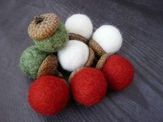 Set of 9 mix Felted acorn ornaments Wool Acorn Felt Balls Handmade gift DIY Garland Mobile Christmas Natural Home Decor Acorns Rustic green Diy Garland, Garlands, Christmas Crafts For Kids To Make, Natural Home Decor, Felt Ball, Etsy Shipping, Acorn, Balls, Diy Crafts