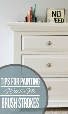 The best tips and tricks for painting with no brush marks or strokes. If you want a professional looking finish for painted furniture, doors, cabinets and more, these techniques are the way to go! Grey Bedroom Furniture, White Furniture, Cheap Furniture, Quality Furniture, Furniture Projects, Furniture Makeover, Furniture Design, Kitchen Furniture, Modern Furniture