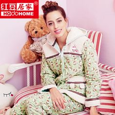 f5dd05c9334 women winter three-layer quilted coral fleece thickening pajama with a hood free  shipping  70.50