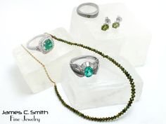 Emeralds, green diamonds and peridot jewelry. #emerald #peridot #diamond #jewelry